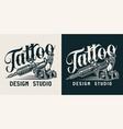 vintage tattoo studio monochrome logo vector image vector image