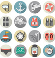 Flat Design Diving Icon Set vector image