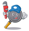plumber frying pan cartoon character vector image