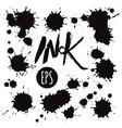 set of black ink blots vector image