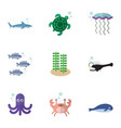 flat icon sea set of cachalot cancer tortoise vector image