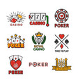 gambling poster of casino and poker logotypes on vector image