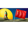 A spaceship with the flag of China in the vector image