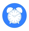 Alarm clock icon in black style isolated on white vector image