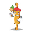 artist rolling pin character cartoon vector image