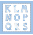 Blue fabric alphabet Letters K L M N O P Q R S vector image vector image