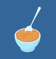 bowl of wheat porridge and spoon isolated healthy vector image