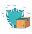 box carton with shield delivery service vector image