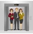 business people standing inside office elevator vector image