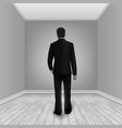 businessman in empty room with laminate floor vector image