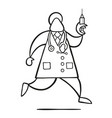 cartoon doctor man with stethoscope and running vector image
