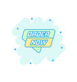 cartoon order now banner icon in comic style vector image vector image