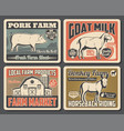 cattle farm meat and milk market products posters vector image vector image