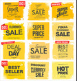 collection yellow grunge retro sale background vector image vector image
