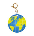 color planet earth hanging rope icon vector image