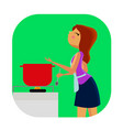 cute young woman cooking vector image