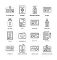 Documents identity flat line icons id