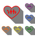 family sign in heart shape set of vector image vector image