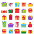 flat christmas gifts winter holiday surprise vector image vector image
