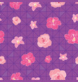 flowers on triangles on seamless pattern print vector image