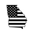 georgia state shape with usa flag black white vector image vector image