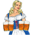 Girl with beer vector image vector image