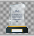 glass trophy plaque award glossy transparent vector image vector image