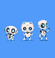 group of modern robots isolated on blue background vector image vector image