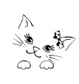 hand drawn cute cat isolated on white vector image vector image