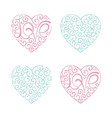 heart set curl love lettering design element vector image vector image