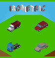 isometric car set of freight auto truck and vector image vector image