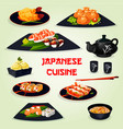 japanese cuisine dinner with dessert cartoon icon vector image vector image