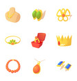 jewelry icons set cartoon style vector image