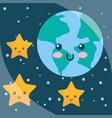 kawaii planet earth stars cartoon night sky vector image
