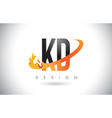 kd k d letter logo with fire flames design and vector image vector image