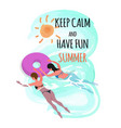 keep calm and have fun summer women in ring vector image vector image
