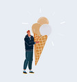 man holding big ice cream vector image vector image