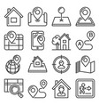 maps and home location icons set line style vector image