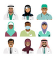 medical practitioner and nurse face icons vector image vector image