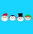 merry year snowman santa claus elf vector image vector image