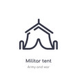 militar tent outline icon isolated line from army vector image vector image