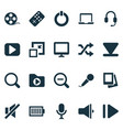 music icons set with zoom out begin laptop and vector image vector image