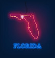 neon map state of florida on dark background vector image