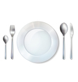 Plate And Cutlery Realistic Set Image vector image