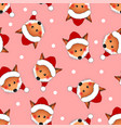 red fox santa claus on pink christmas background vector image