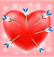 red heart attacked cupid arrows vector image