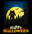 scary halloween background blue vector image vector image