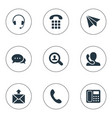 set of simple contact icons vector image vector image