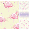 set seamless backgrounds with pink flamingos and vector image vector image