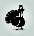 silhouette of turkey thanksgiving day vector image vector image